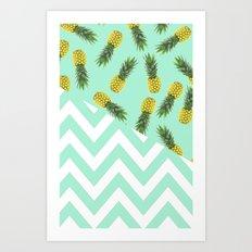 blue pineapple chevron Art Print