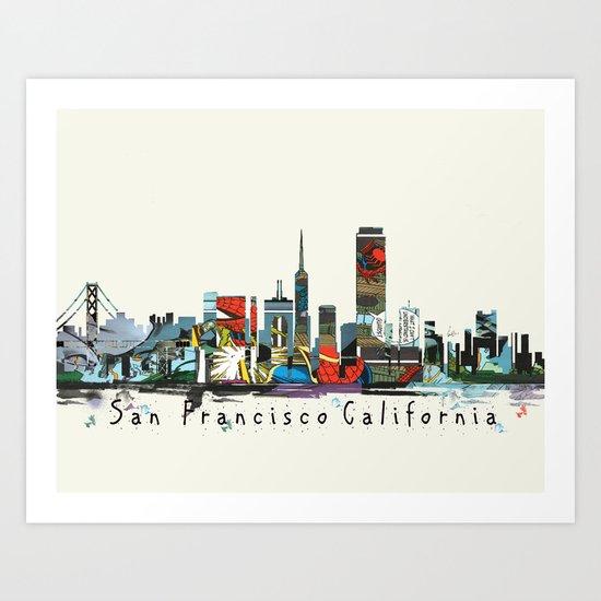 san francisco skyline comic Art Print