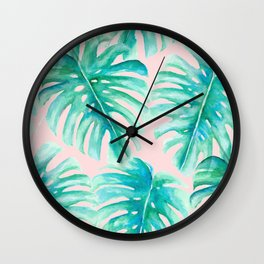 Paradise Palms Blush Wall Clock
