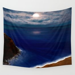 Full Moon reflecting on the Ocean Wall Tapestry