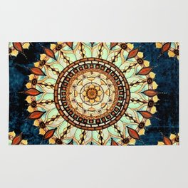 Sketched Mandala Design On A Blue Textured Background Rug