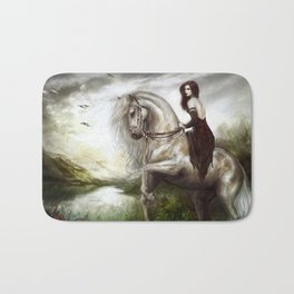 Morning welcome - Royal redead girl riding a white horse Bath Mat
