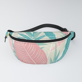 Tropical Palm Leaves, PinkTurquoise,Seashells Fanny Pack