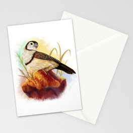 Owl finches realistic painting Stationery Cards