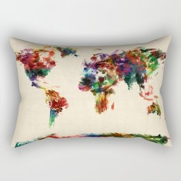 Map of the World Map Abstract Painting Rectangular Pillow