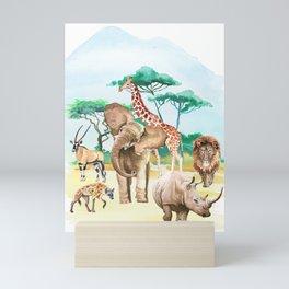Watercolor African animals. Mini Art Print