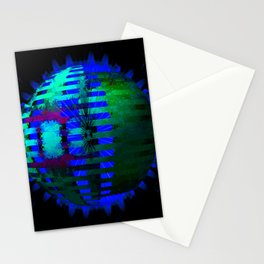 Green Layered Star in Blue Flames Stationery Cards