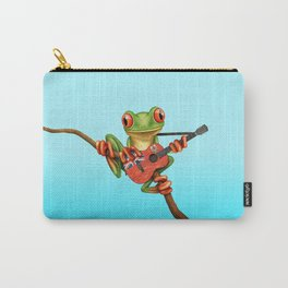 Tree Frog Playing Acoustic Guitar with Flag of Bermuda Carry-All Pouch