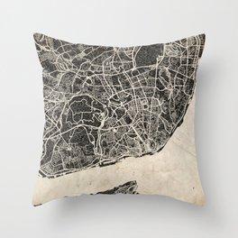 lisbon map ink lines Throw Pillow