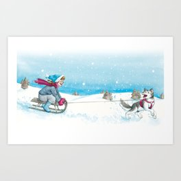 Anna and Husk in the snow Art Print