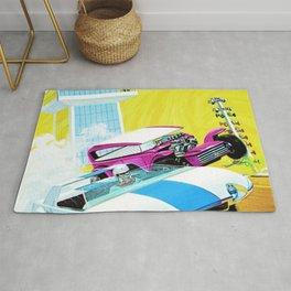 Vintage Redline Era Hot Wheels Demon and Jack Rabbit Special Grand Prix Drag Racing Vintage Poster Rug