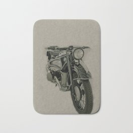 Vintage classic bike, motorcycle art, sepia background Bath Mat
