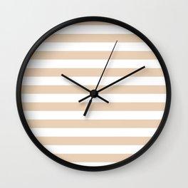 Narrow Horizontal Stripes - White and Pastel Brown Wall Clock