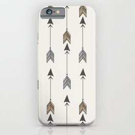 Vertical Arrow Patterns - Cream and Neutral Earth Tones iPhone Case
