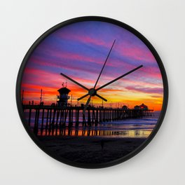 Huntington Beach Sunset   ~  12/15/13  Wall Clock
