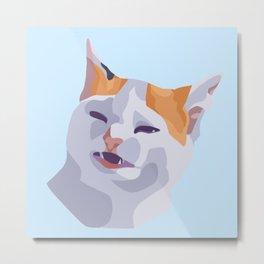 Angry Cat No Banana Metal Print