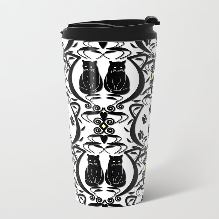 Midnight Cat Does Damask  Metal Travel Mug