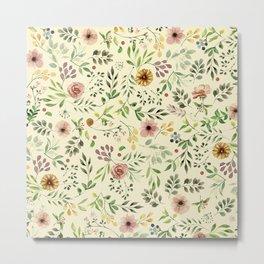 Vintage Floral Pattern Metal Print
