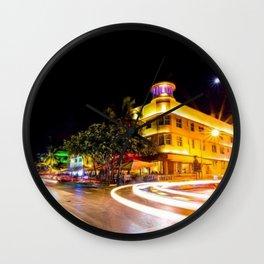 Art Deco Cardozo Hotel South Beach, Miami Night Scene Portrait by Jeanpaul Ferro Wall Clock