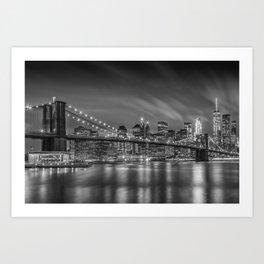 BROOKLYN BRIDGE Nightly Impressions   Monochrome Art Print