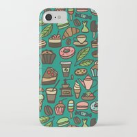 macaroon iPhone & iPod Cases featuring Coffee and pastry  by Julia Badeeva