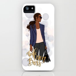 Wife Mom Boss | African American Lady Boss iPhone Case