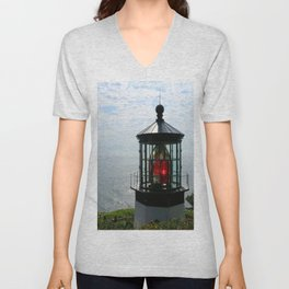 The Red Beacon On Tillamock Bay Unisex V-Neck