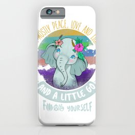 Hippie Elephant I'm Mostly Peace Love Light Little Go Gifts T-Shirt iPhone Case