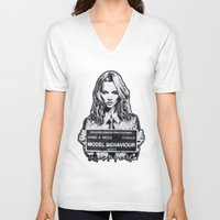 kate moss V-neck T-shirts featuring Kate Moss by Merlin Dobaryan