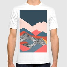 Graphic Mountains X MEDIUM Mens Fitted Tee White