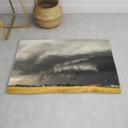 Ominous - Storm Looms Over Small Town In Oklahoma Rug
