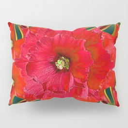 RED HOLIDAYS CANDY CANES & RED  FLOWER ABSTRACT Pillow Sham
