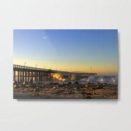 Ventura Pier Sturm Sunset Metal Print