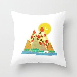 Springtime in the Pizza Mountains Throw Pillow