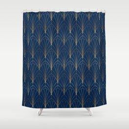 Art Deco Waterfalls // Navy Blue Shower Curtain