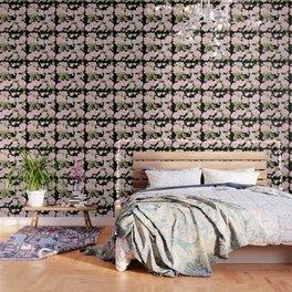 Peonies on Black Wallpaper