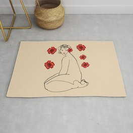 Nude 22 and red flowers Rug