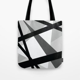Abstract Grayscale Geometric Lines Tote Bag