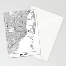 Miami White Map Stationery Cards