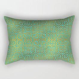 Golden Embossed Celtic Pattern on teal wood Rectangular Pillow