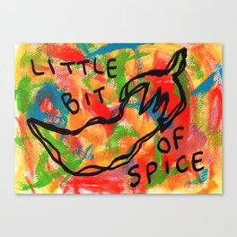 Chili Illustration Colorful Kitchen Food Vegan Red Pepper Humor Quote Life Is A Bit Spicy Sometimes Canvas Print