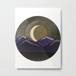 Moonlit Winter Mountains Metal Print