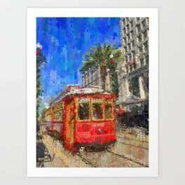 New Orleans Trolley Bus Art Print