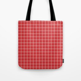 Madder Lake - red color -  White Lines Grid Pattern Tote Bag