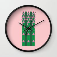 vegetable Wall Clocks featuring Vegetable: Asparagus by Christopher Dina