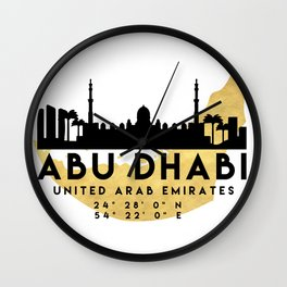 ABU DHABI UNITED ARAB EMIRATES SILHOUETTE SKYLINE MAP ART Wall Clock
