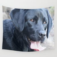 labrador Wall Tapestries featuring Black Labrador by MehrFarbeimLeben