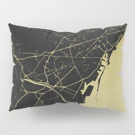 Barcelona Black and Gold Map Pillow Sham