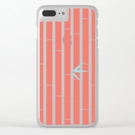 Bamboo Pattern ~ coral red Clear iPhone Case