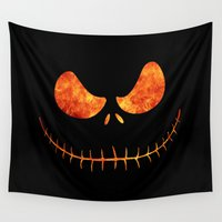 jack skellington Wall Tapestries featuring Jack Skellington Halloween Smile Flame by alexa